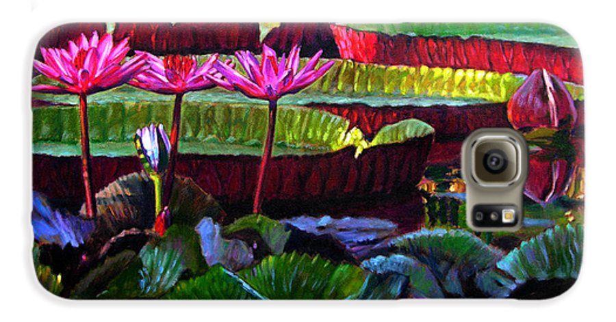 Water Lilies Galaxy S6 Case featuring the painting Patterns Of Color And Light by John Lautermilch