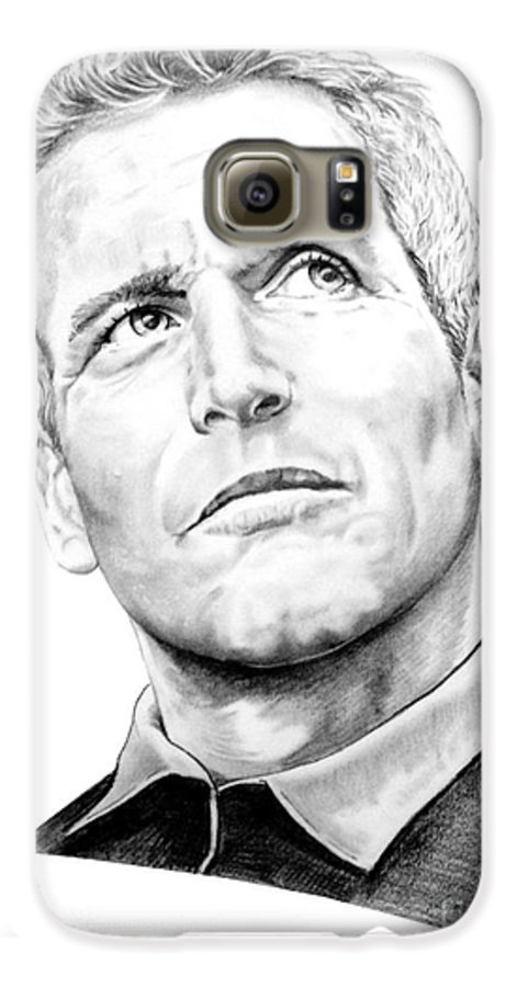 Paul Newman Galaxy S6 Case featuring the drawing Paul Newman by Murphy Elliott