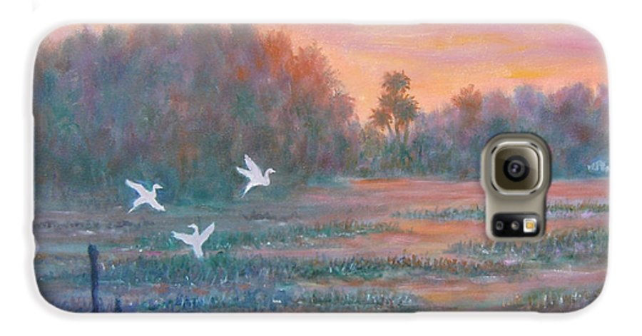 Low Country; Egrets; Sunset Galaxy S6 Case featuring the painting Pawleys Island by Ben Kiger