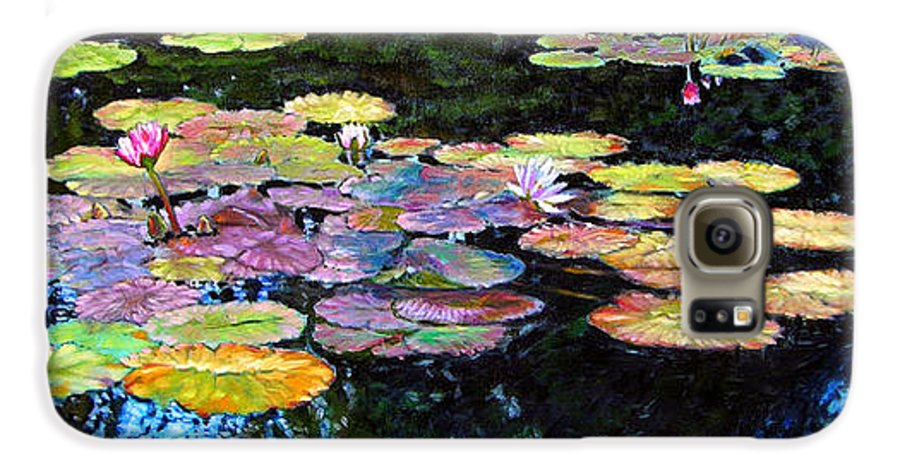 Water Lilies Galaxy S6 Case featuring the painting Peace Among The Lilies by John Lautermilch