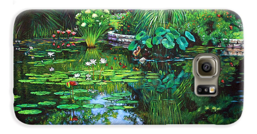 Landscape Galaxy S6 Case featuring the painting Peace Floods My Soul by John Lautermilch