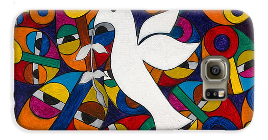 Dove Galaxy S6 Case featuring the painting Peace On Earth by Emeka Okoro