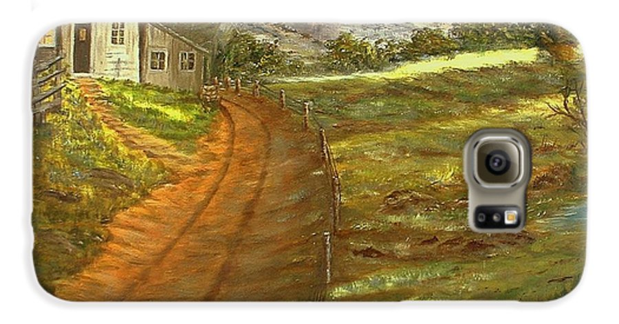 Landscape Galaxy S6 Case featuring the painting Peaceful Country by Kenneth LePoidevin