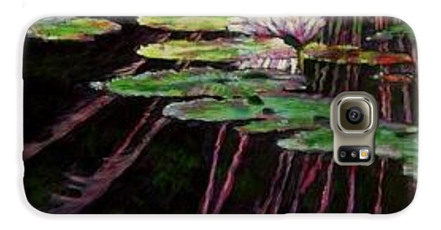 Quiet Pond With Water Lily And Reflections. Missouri Botanical Garden Galaxy S6 Case featuring the painting Peaceful Reflections by John Lautermilch