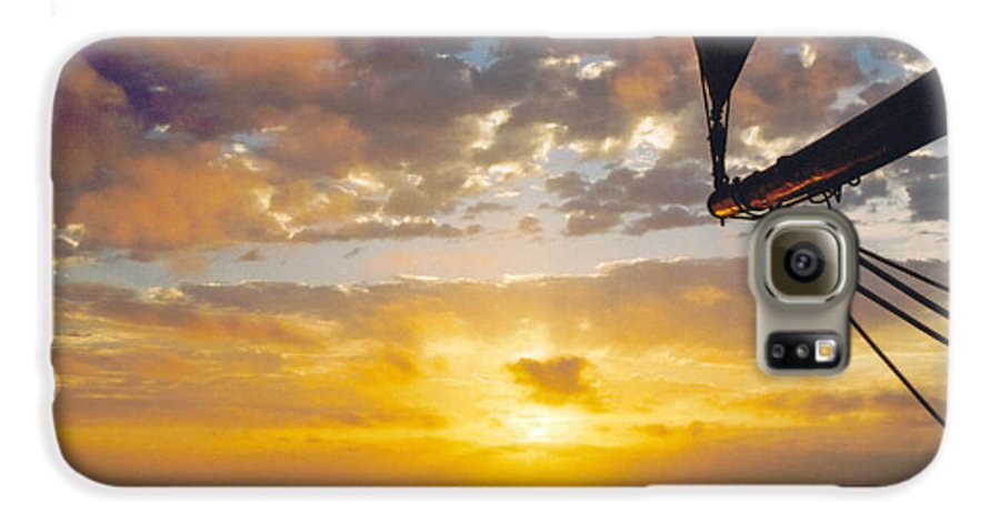 Sunset Galaxy S6 Case featuring the photograph Peaceful Sailing by Kathy Schumann