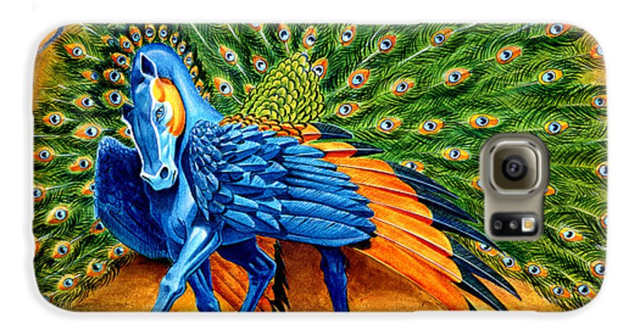 Horse Galaxy S6 Case featuring the painting Peacock Pegasus by Melissa A Benson