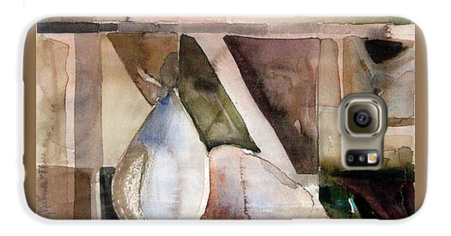 Pear Galaxy S6 Case featuring the painting Pear Study In Watercolor by Mindy Newman