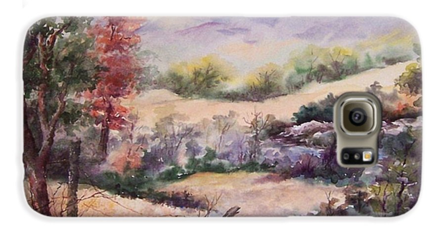Fall Galaxy S6 Case featuring the painting Pee Dee Creek by Virginia Potter