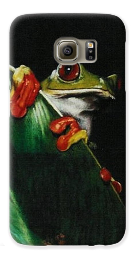 Frog Galaxy S6 Case featuring the drawing Peek-a-boo by Barbara Keith