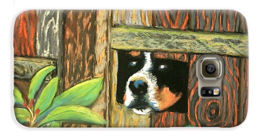 Dog Galaxy S6 Case featuring the painting Peek-a-boo Fence by Minaz Jantz