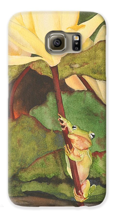 Frog Galaxy S6 Case featuring the painting Peeping Tom by Jean Blackmer