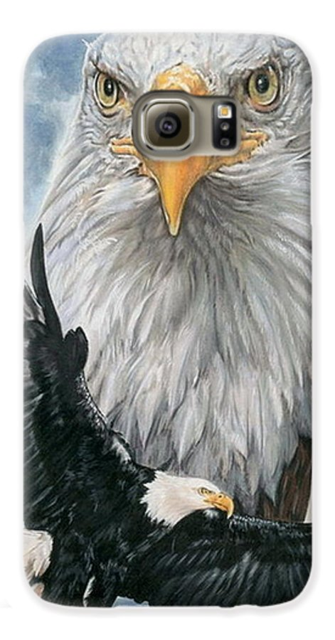 Bald Eagle Galaxy S6 Case featuring the mixed media Peerless by Barbara Keith