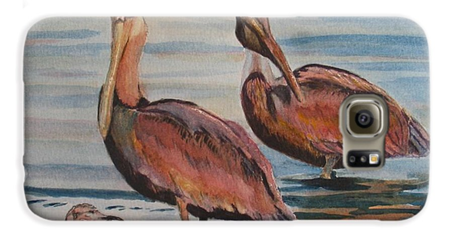 Pelicans Galaxy S6 Case featuring the painting Pelican Party by Karen Ilari