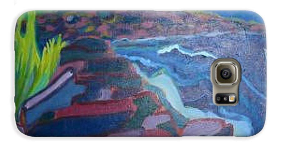 Ocean Galaxy S6 Case featuring the painting Pemaquid Cliffs by Debra Bretton Robinson