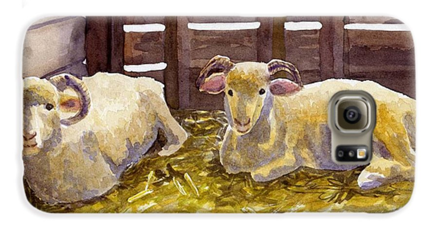 Sheep Galaxy S6 Case featuring the painting Pen Pals by Sharon E Allen