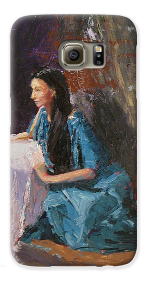 Sitting Woman Galaxy S6 Case featuring the painting Penelope by Irena Jablonski