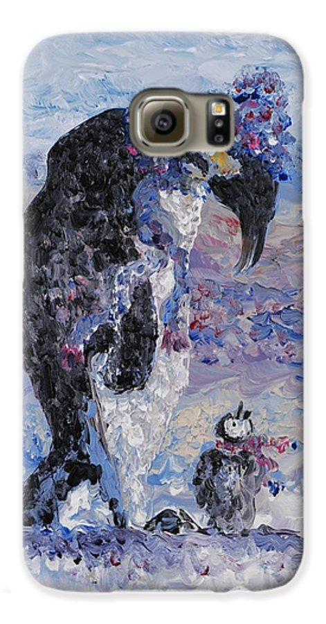 Penguins Winter Snow Blue Purple White Galaxy S6 Case featuring the painting Penguin Love by Nadine Rippelmeyer