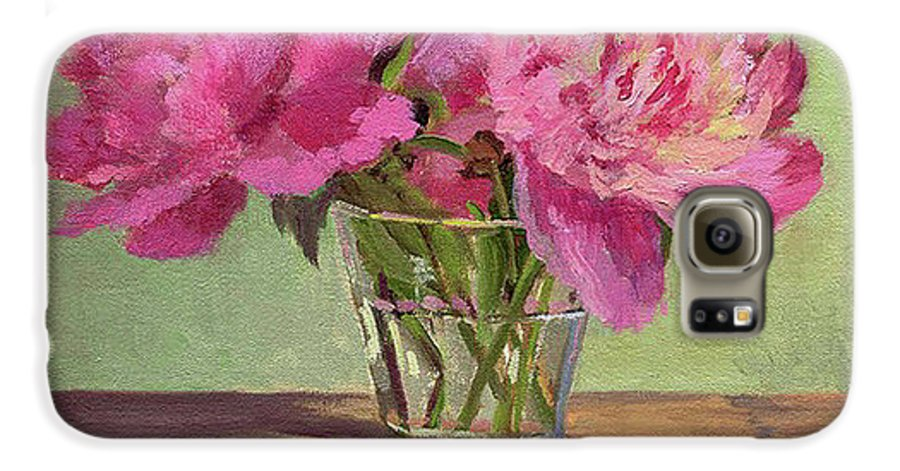 Still Galaxy S6 Case featuring the painting Peonies In Tumbler by Keith Burgess