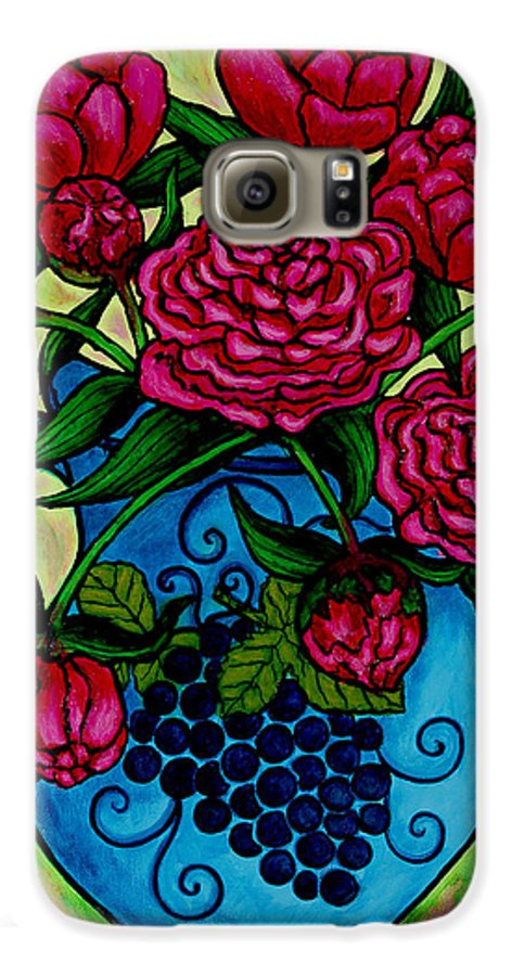 Peonies Galaxy S6 Case featuring the painting Peony Party by Lisa Lorenz