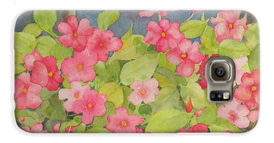 Flowers Galaxy S6 Case featuring the painting Perky by Mary Ellen Mueller Legault