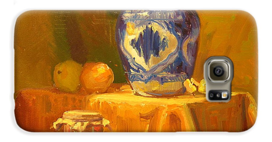 Still Life Galaxy S6 Case featuring the painting Persian Vase And Fruit Jar by David Dozier