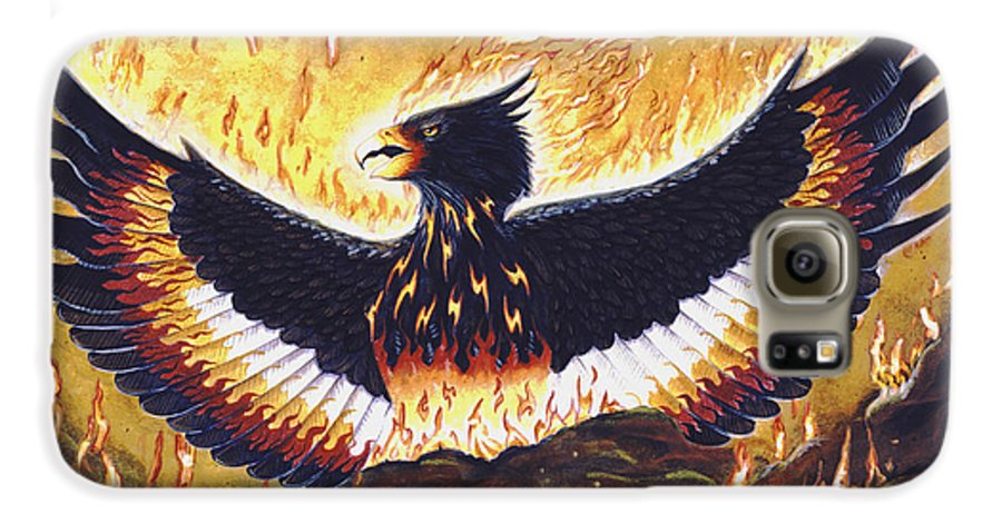 Phoenix Galaxy S6 Case featuring the painting Phoenix Rising by Melissa A Benson