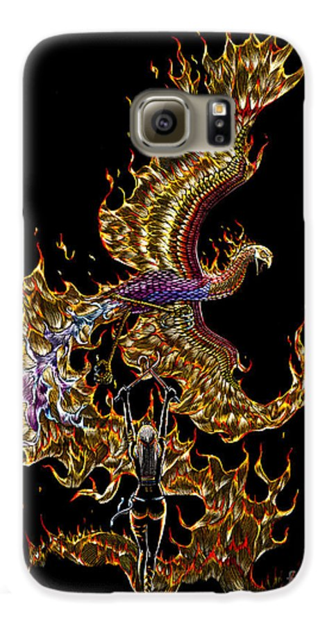 Phoenix Galaxy S6 Case featuring the drawing Phoenix by Stanley Morrison