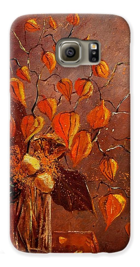 Poppies Galaxy S6 Case featuring the painting Physialis by Pol Ledent