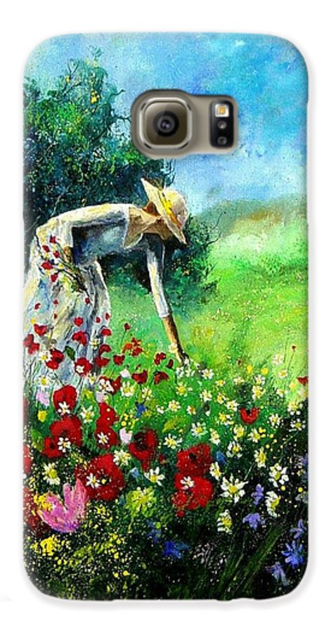 Poppies Galaxy S6 Case featuring the painting Picking Flower by Pol Ledent