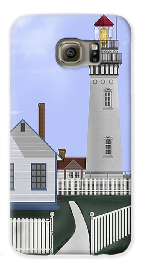 Lighthouse Galaxy S6 Case featuring the painting Pigeon Point Lighthouse California by Anne Norskog