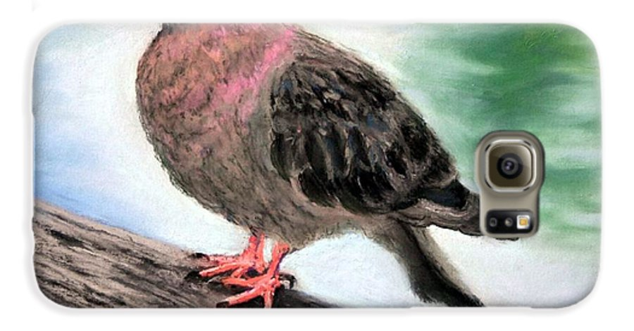 Pigeon Galaxy S6 Case featuring the painting Pigeon Toes by Minaz Jantz