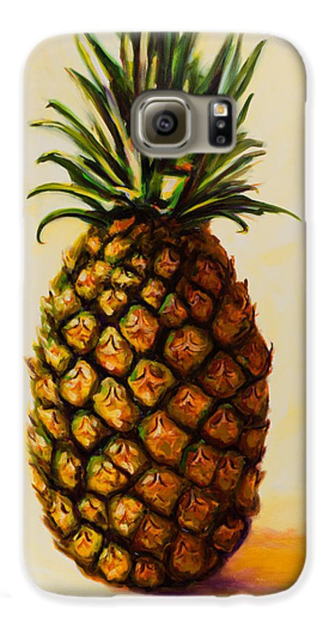 Pineapple Galaxy S6 Case featuring the painting Pineapple Angel by Shannon Grissom