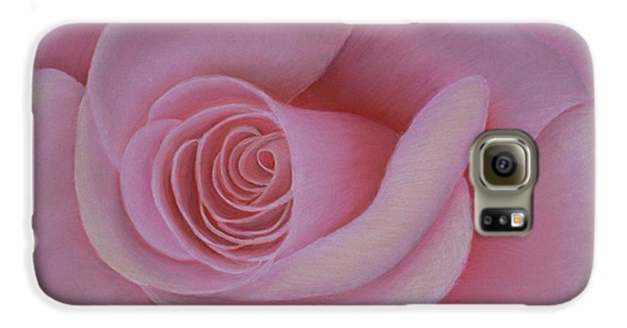 Rose Galaxy S6 Case featuring the painting Pink Blush by Mary Erbert