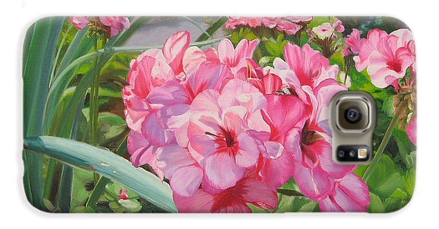 Pink Geraniums Galaxy S6 Case featuring the painting Pink Geraniums by Lea Novak