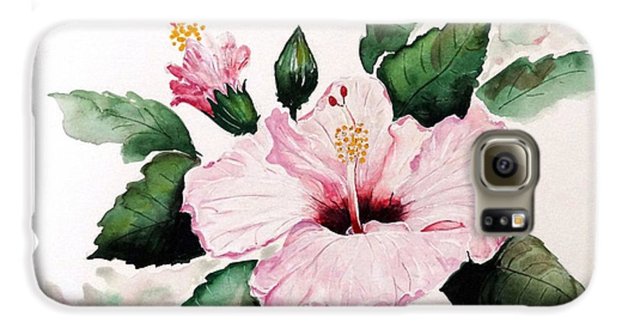 Hibiscus Painting  Floral Painting Flower Pink Hibiscus Tropical Bloom Caribbean Painting Galaxy S6 Case featuring the painting Pink Hibiscus by Karin Dawn Kelshall- Best