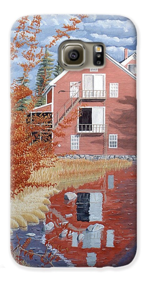 Autumn Galaxy S6 Case featuring the painting Pink House In Autumn by Dominic White