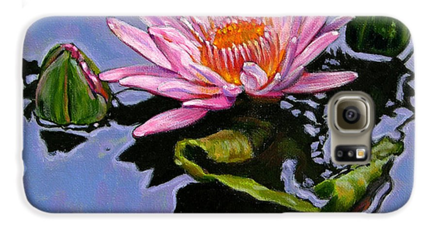 Water Lily Galaxy S6 Case featuring the painting Pink Lily With Dancing Reflections by John Lautermilch