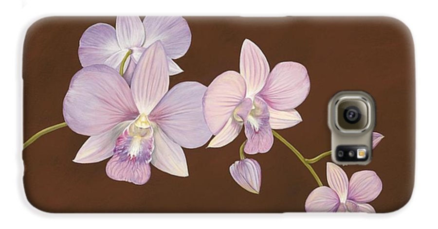 Orchid Galaxy S6 Case featuring the painting Pink Orchids by Shawn Stallings