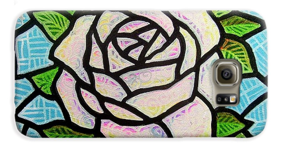 Rose Galaxy S6 Case featuring the painting Pinkish Rose by Jim Harris