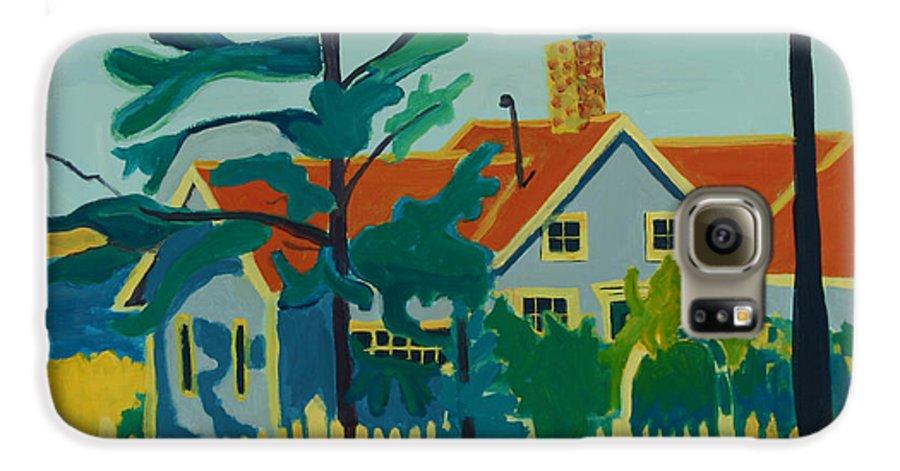 Beach Galaxy S6 Case featuring the painting Pinkys House On Monhegan by Debra Bretton Robinson