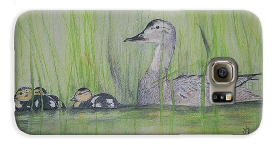 Pintail Ducks Galaxy S6 Case featuring the painting Pintails In The Reeds by Debra Sandstrom