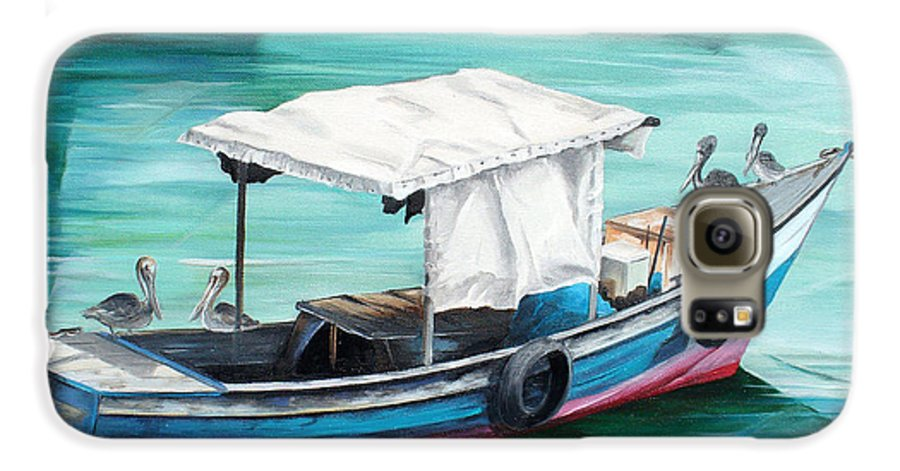 Fishing Boat Painting Seascape Ocean Painting Pelican Painting Boat Painting Caribbean Painting Pirogue Oil Fishing Boat Trinidad And Tobago Galaxy S6 Case featuring the painting Pirogue Fishing Boat by Karin Dawn Kelshall- Best