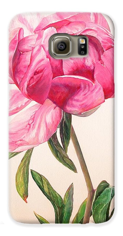Floral Painting Galaxy S6 Case featuring the painting Pivoine 1 by Muriel Dolemieux