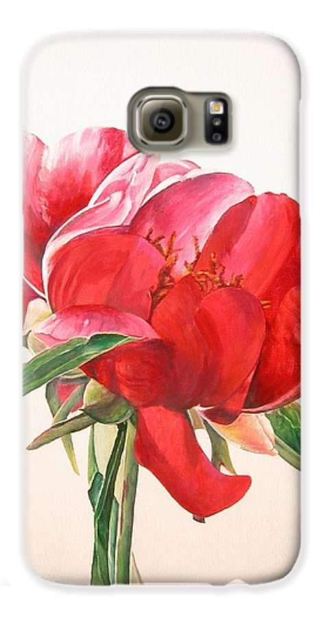 Floral Painting Galaxy S6 Case featuring the painting Pivoine 2 by Muriel Dolemieux