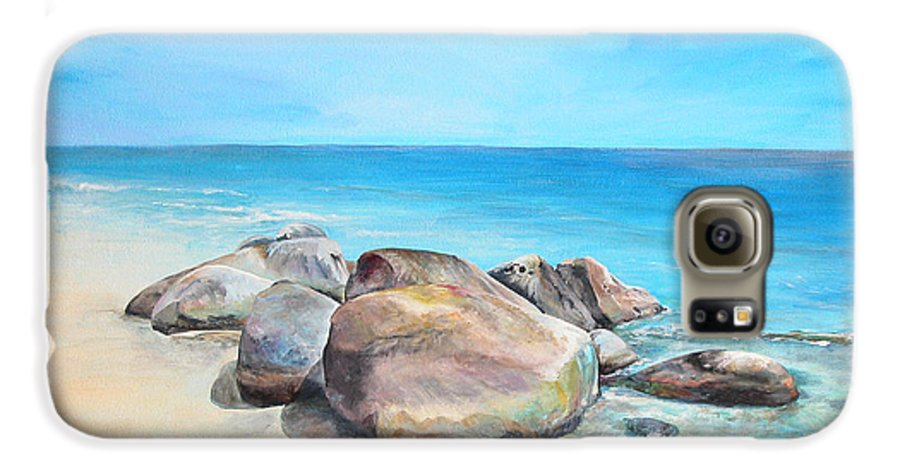 Paysage Galaxy S6 Case featuring the painting Plage by Muriel Dolemieux