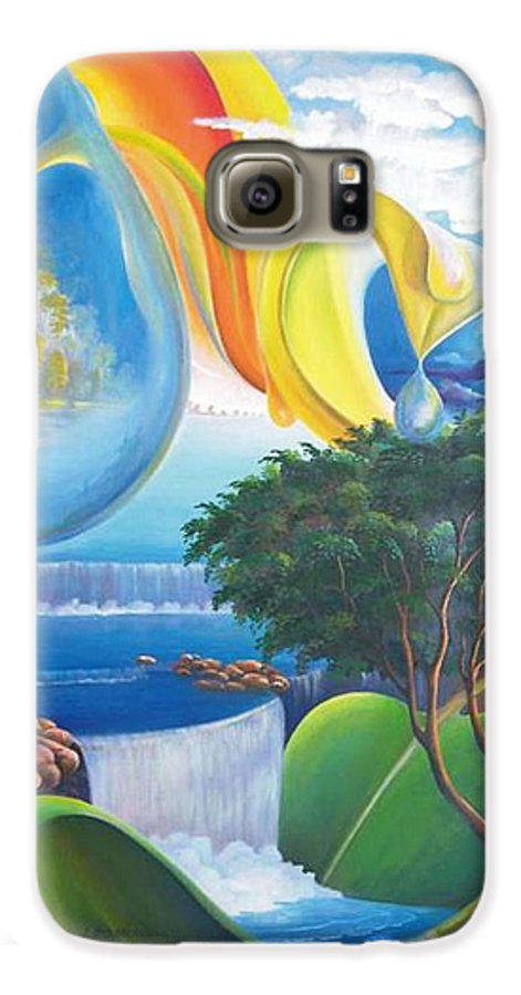 Surrealism - Landscape Galaxy S6 Case featuring the painting Planet Water - Leomariano by Leomariano artist BRASIL