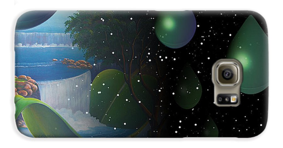 Suarrealism Galaxy S6 Case featuring the painting Planet Water by Leomariano artist BRASIL