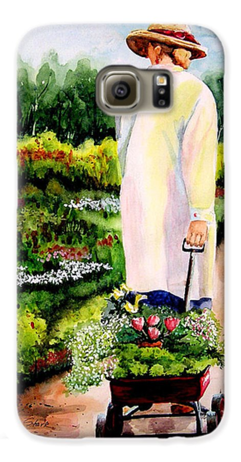 Garden Galaxy S6 Case featuring the painting Planting Plans by Karen Stark