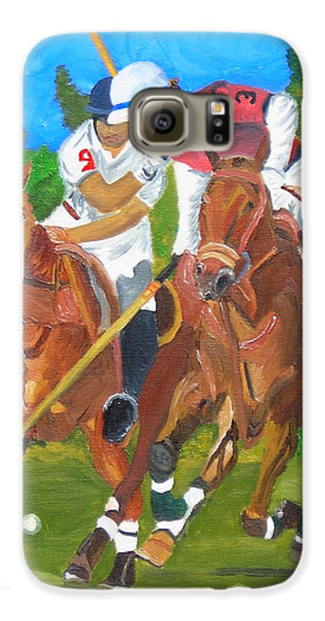 Polo Galaxy S6 Case featuring the painting Play In Motion by Michael Lee