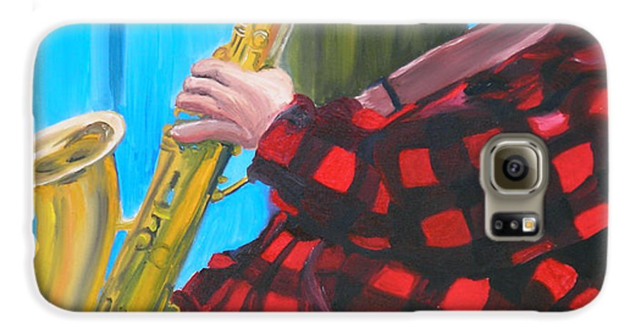 Sax Player Galaxy S6 Case featuring the painting Play It Mr Sax Man by Michael Lee